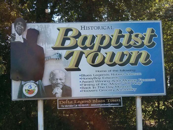 Sign at the entrance to Baptist Town, Greenwood, MS