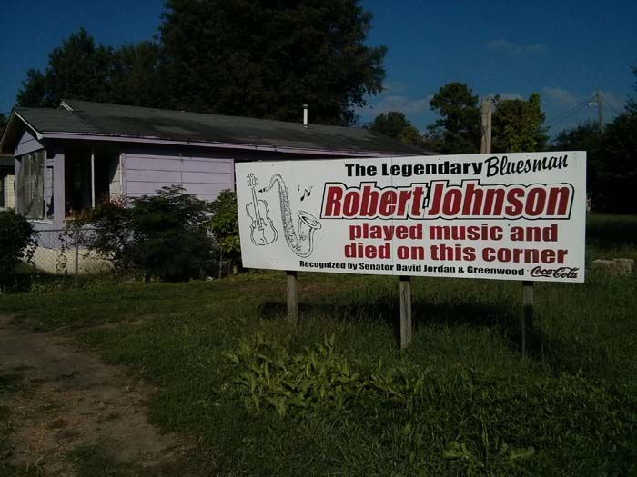 Sign about Robert Johnson by the road in Baptist Town