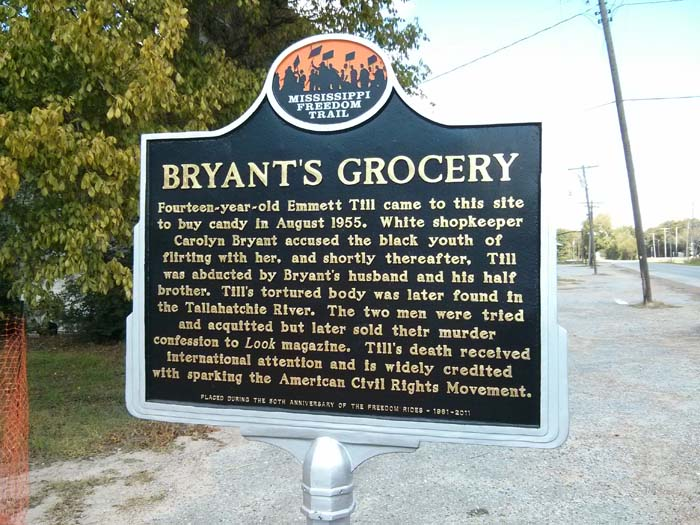 Trail marker at Bryant's Grocery, Money, MS