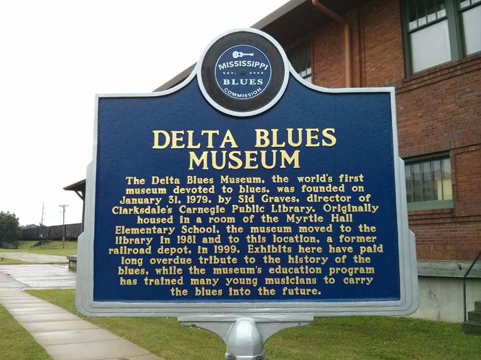 Trail marker outside the Delta Blues Museum