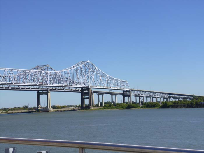 The Crescent City Connection bridge over the Mississippi River in New Orleans