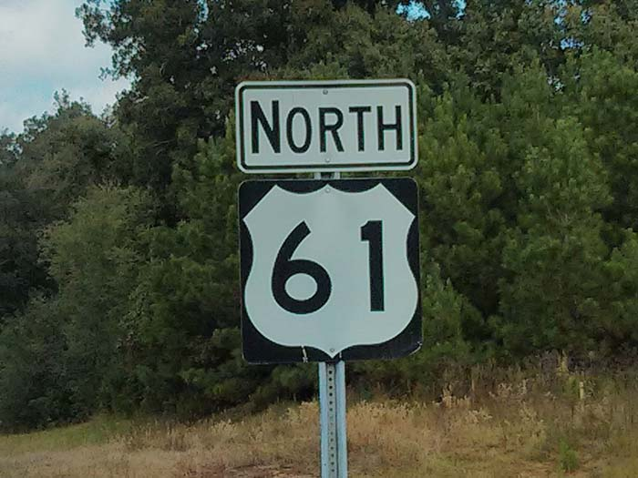 Highway 61 North road sign