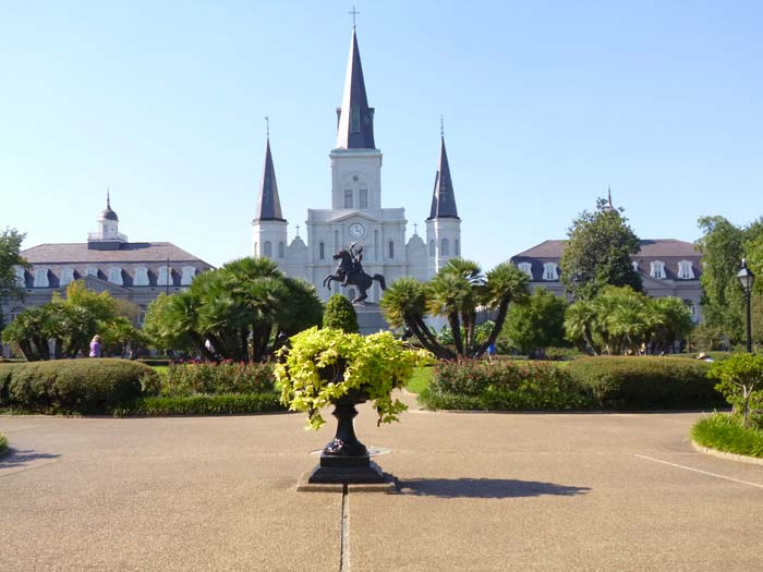 A view from around New Orleans of the cathedral