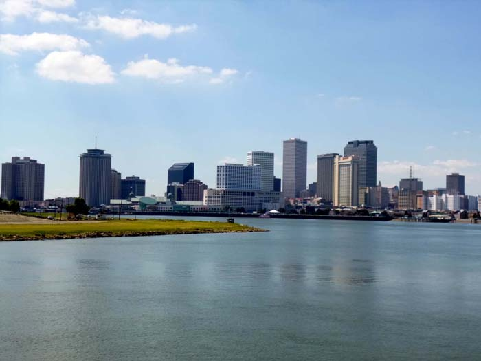View of New Orleans from on the river