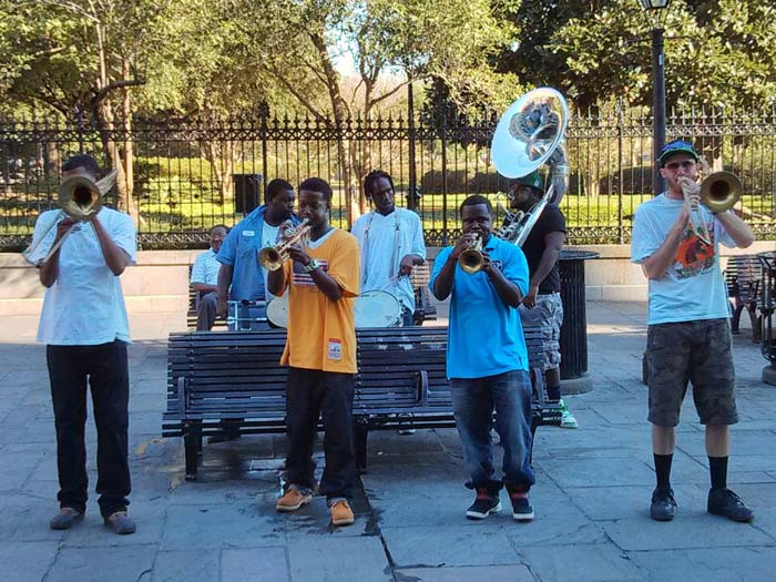 A band playing on the street in New Orleans