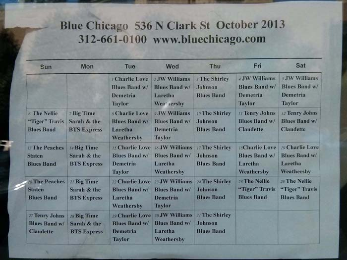 Blue Chicago schedule for October 2013