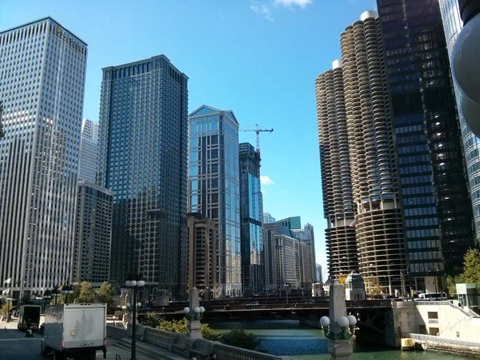 A view of Chicago from the tour bus