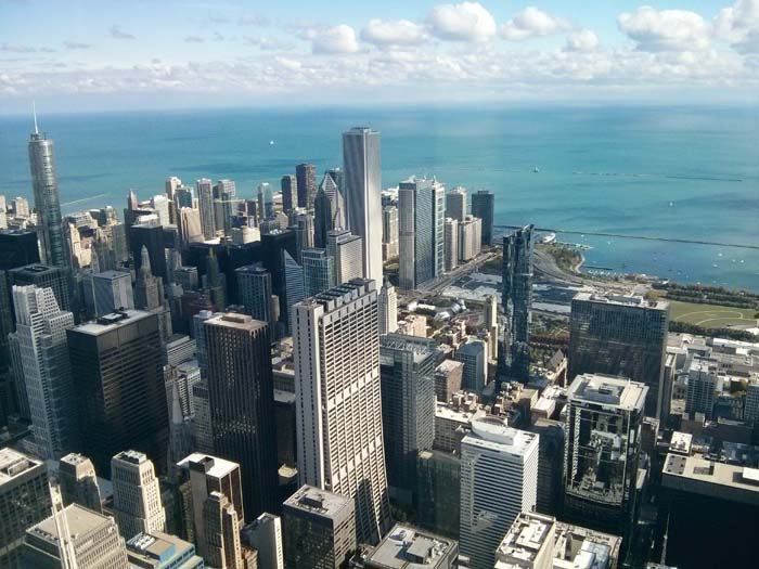 The view east from the Skydeck inside Willis (formerly Sears) Tower