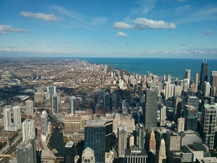 The view north from the Skydeck inside Willis (formerly Sears) Tower