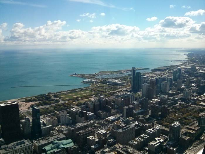 The view south-east from the Skydeck inside Willis (formerly Sears) Tower