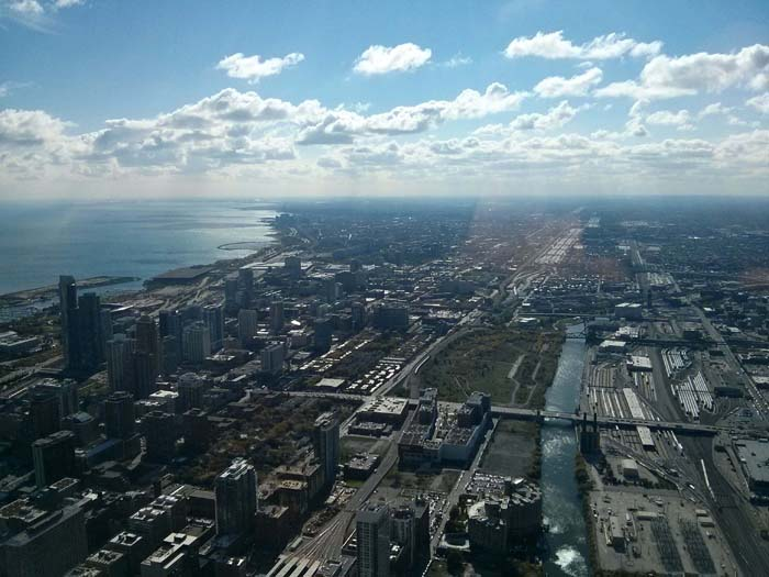 The view south from the Skydeck inside Willis (formerly Sears) Tower