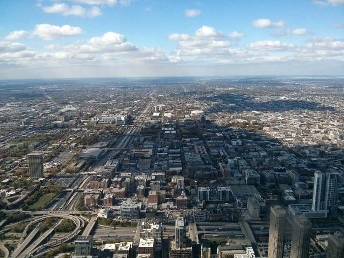 The view west from the Skydeck inside Willis (formerly Sears) Tower