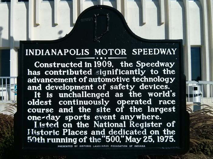 Sign outside the Indianapolis Motor Speedway Museum
