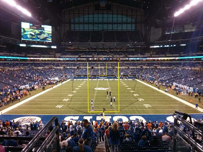 View from the end zone of Lucas Oil Stadium