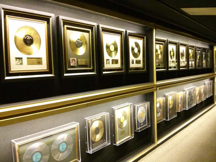 Inside the Trophy Room at Graceland - rows of gold discs: the other wall