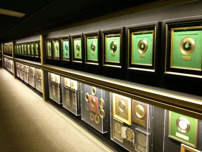 Inside the Trophy Room at Graceland - rows of gold discs