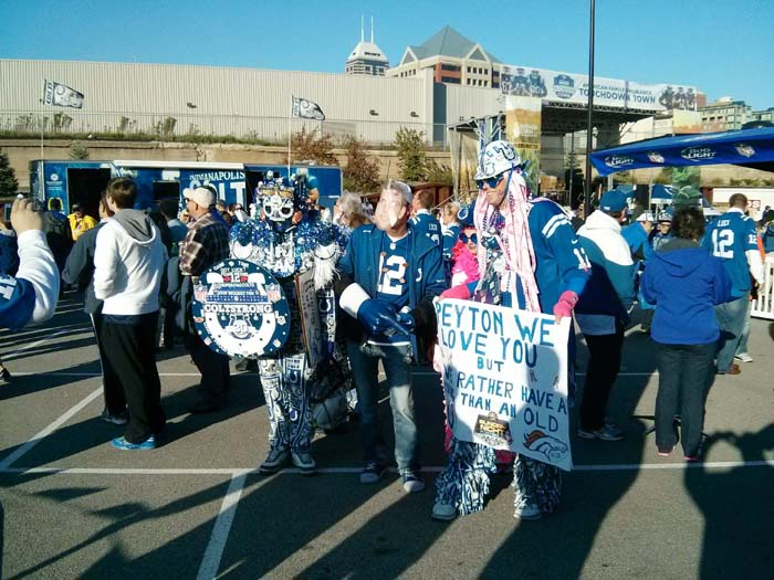 Fans outside Lucas Oil Stadium