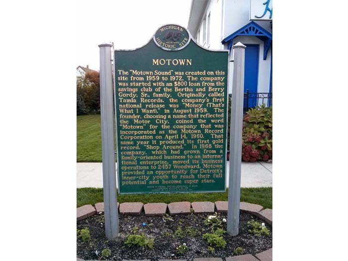 Trail marker outside the Motown Museum
