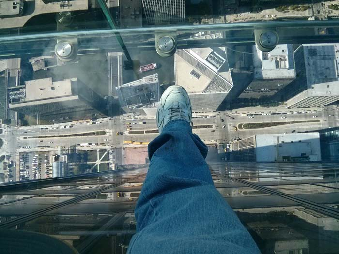 Looking straight down from a Skydeck Ledge