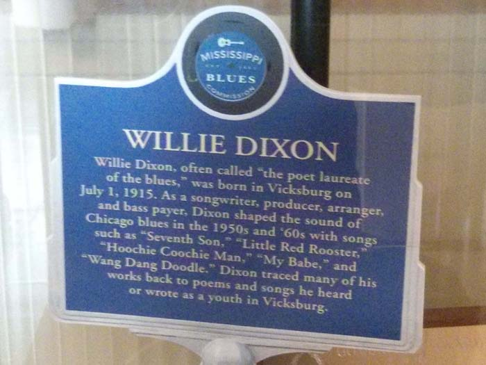 Replica Willie Dixon trail marker in the lobby window at Chess Studios