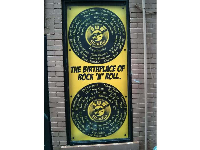The birthplace of rock'n'roll - sign on the side of the Sun Records building