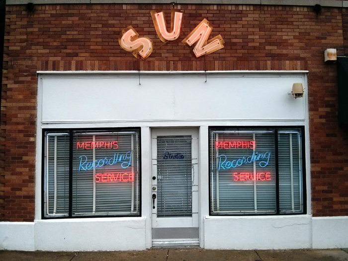 Sun Studio seen from the road with its original entrance door