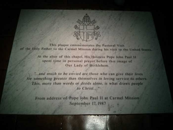 Stone commemorating the Pope's visit