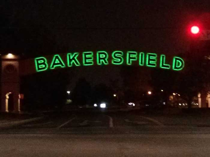 Bakersfield sign at night