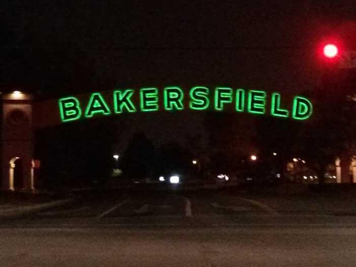 Bakersfield sign at night