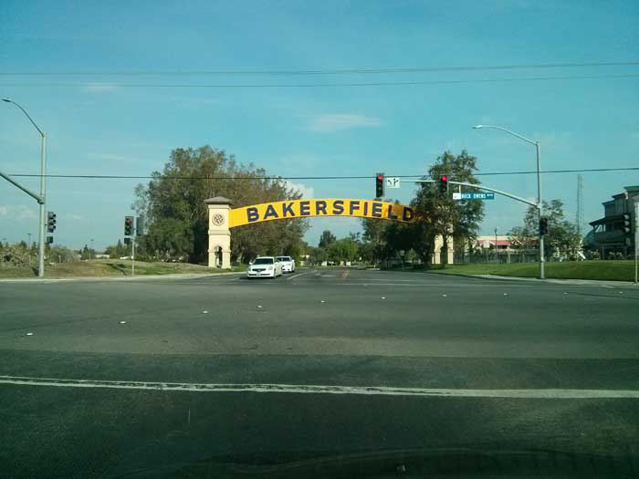 Bakersfield sign just off Buck Owens Blvd next to the Crystal Palace