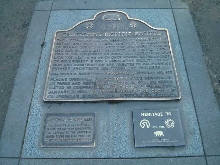 Historical plaque - Capitol Mall Sacramento