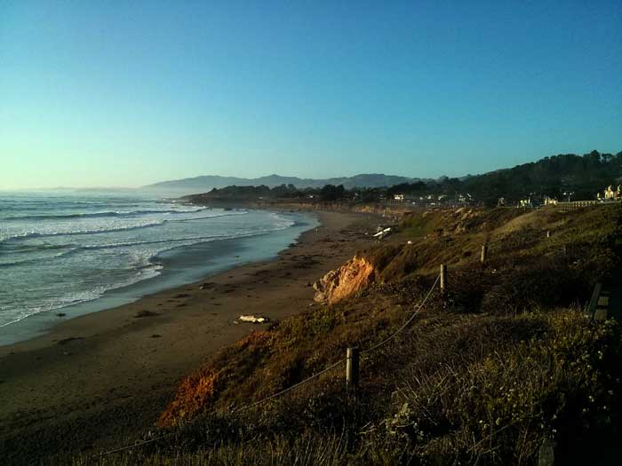 Looking north up Moonstone Beach