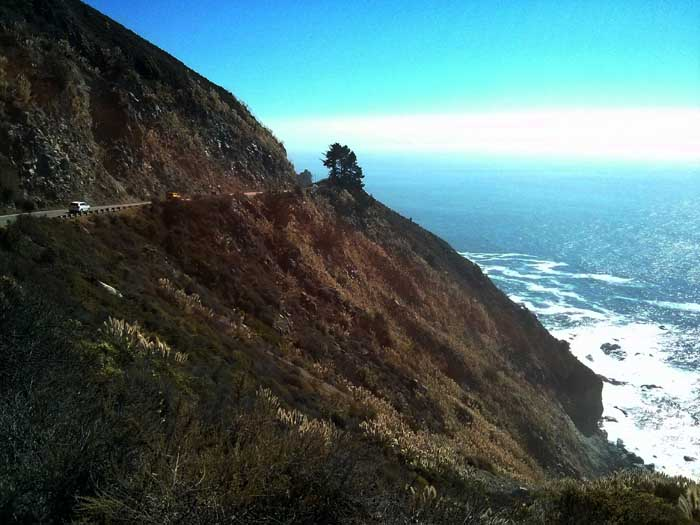View of cliffs on Highway 1