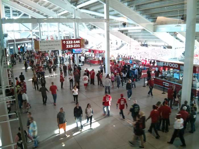 Looking down on the concourse from the Levi's 501 Club