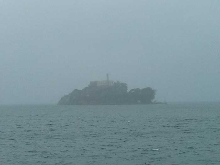 Alcatraz Island through the mist