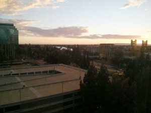 Sunset in downtown Sacramento