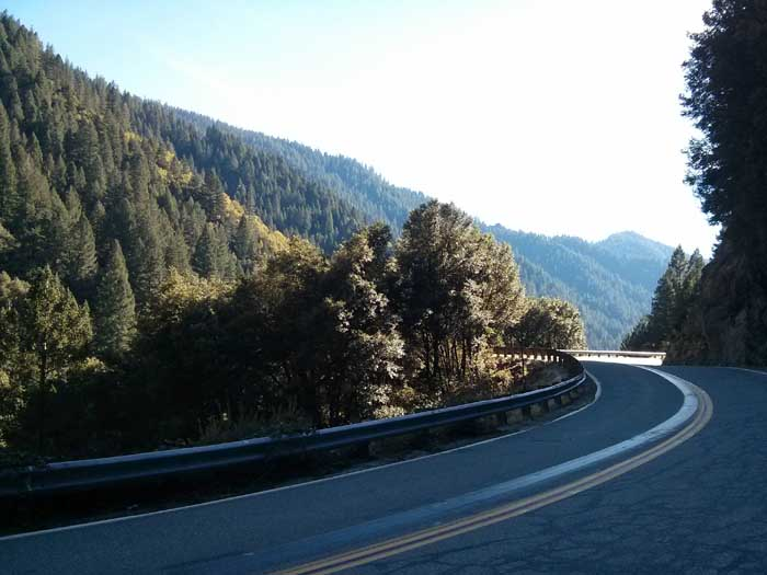 West on Highway 49 in the Sierra Nevada