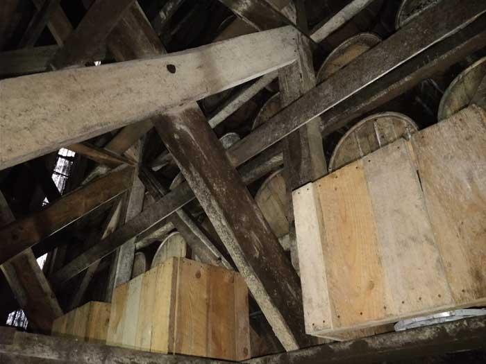 Inside a barrel warehouse