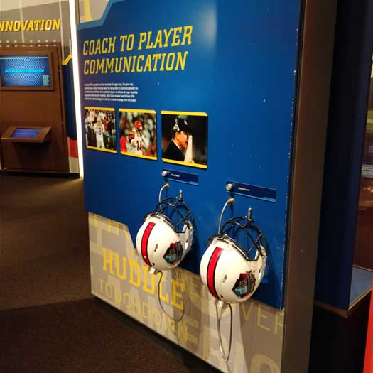 Interactive exhibits inside the Pro Football Hall of Fame