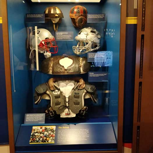 Exhibits inside the Pro Football Hall of Fame