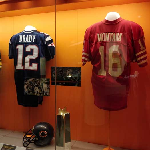 Joe Montana's MVP jersey from Super Bowl XIX and Tom Brady's from XXXVI