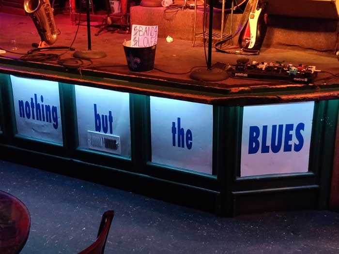 Bourbon Street Blues & Boogie Bar sign