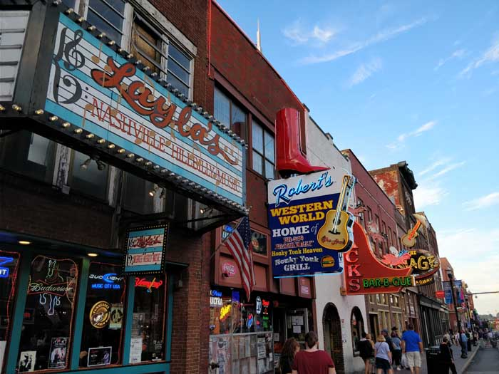 Honky Tonk Row on Broadway in Nashville