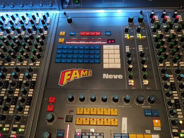 Recording desk at FAME Studio A