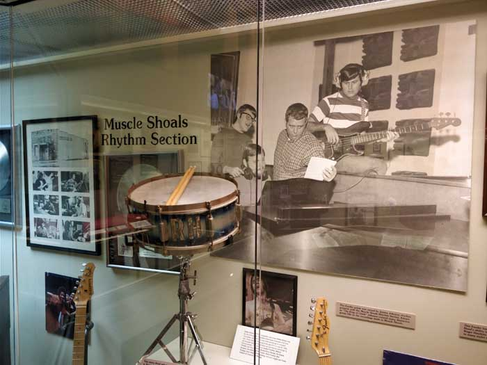 Roger Hawkin's drum inside Alabama Music Hall of Fame