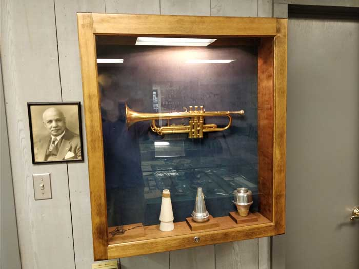 WC Handy's trumpet inside WC Handy Museum