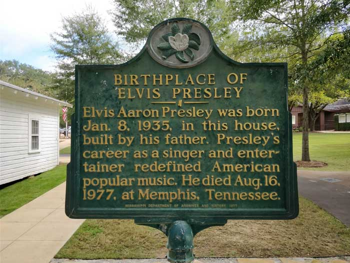 Elvis' Birthplace marker sign