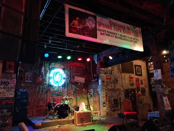 The stage inside Ground Zero Blues Club