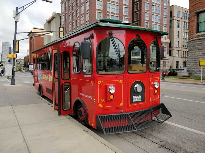 Trolley tour bus