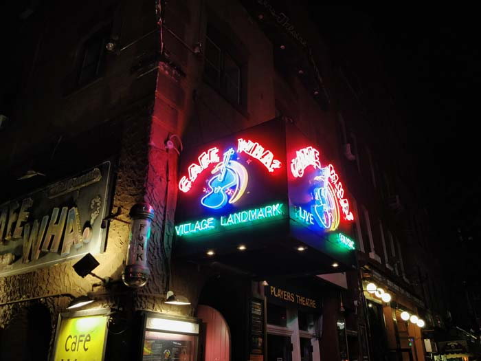 Neon sign at Cafe Wha